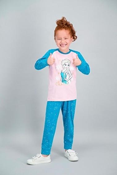 Frozen Karlar Ülkesi - Frozen Lisanslı Açık Pembe Kız Çocuk Pijama Takımı Pembe